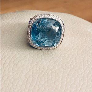 Large light blue stone ring